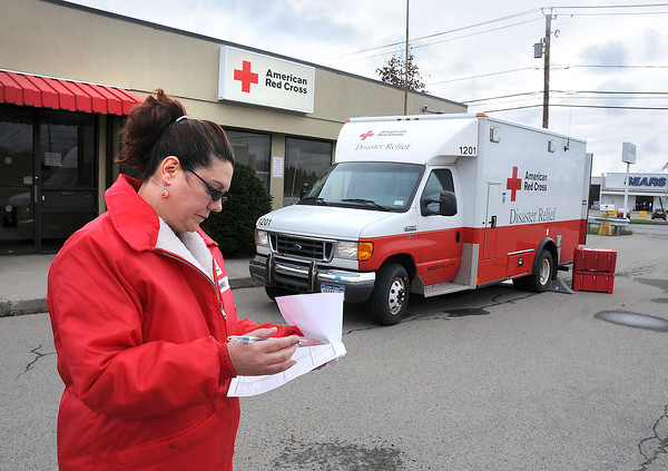 James Neiss/staff photographerNiagara Falls, NY - Coordinator of Emergency Services Lisa Taibi, goes over a readiness checklist for the Niagara Falls American Red Cross Disaster Relief Truck, that will be deployment to help with the hurricane Sandy cleanup in New York City.  Taibi, said she will deliver the truck to  the American Red Cross, serving Erie & Niagara Counties, headquarters in Buffalo for its crew.