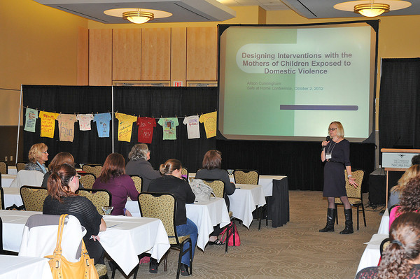 James Neiss/staff photographerNiagara Falls, NY - Alison Cunningham, director of Research at the Center for Children & Families in the Justice System in London, Ontario, speaks at the Family Violence Intervention Project 14th Annual Conference at The Conference Center Niagara Falls.