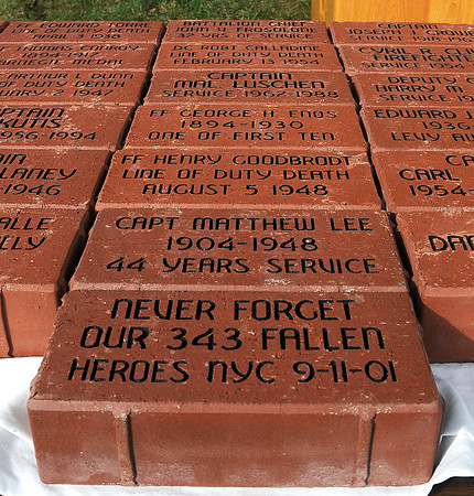 James Neiss/staff photographerNiagara Falls,  NY - A few of the bricks for a Firefighter memorial patio at the Royal Avenue Firehouse were on display during services at the firehouse, including one honoring the victims of the World Trade Center disaster on Sept, 11, 2001.