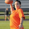James Neiss/staff photographerAmherst,  NY - Danielle Faust of Niagara Falls is playing quarterback for the Brunettes during the Blondes V.S. Brunettes charity football game at Sweet Home High School on Saturday. Proceeds are to benefit the Alzheimer's Association.