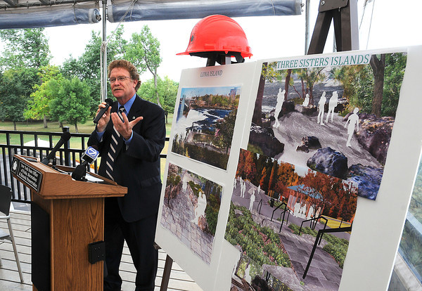 James Neiss/staff photographerNiagara Falls,  NY - Mark Thomas, Western District director of New York State Parks, announced improvements to Niagara Falls State Park that include Luna Island and Three Sisters Island, featuring better handicap access and new landscaping.