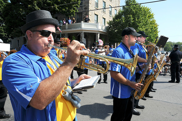 James Neiss/staff photographerYoungstown, NY - Members of the Lost Souls Brass & Percussion Band play it up at the Youngstown Labor Day Parade.