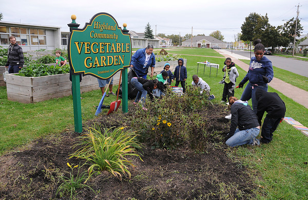 James Neiss/staff photographerNiagara Falls, NY - Children from Mt. Sinai Missionary Baptist Church help out in the Highland Community Vegetable Garden at the Henry J. Kalfas Elementary School with help from members of Renew Niagara.