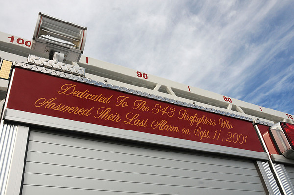 James Neiss/staff photographerNiagara Falls,  NY - An inscription dedicates Niagara Falls Fire Truck 2, from the 72nd Street Firehouse, to the 343 firefighters who gave their lives on Sept, 11, 2001. Truck 2 was dedicated during during a ceremony at the Royal Avenue Firehouse.