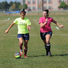 James Neiss/staff photographerNiagara Falls,  NY - Niagara Falls girls soccer players and sisters Alexa and Carissa Caputo move the ball during practice.