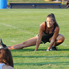 James Neiss/staff photographerAmherst,  NY - Brunette team member Alison Barone of the Town of Tonawanda, warms up during practice at Sweet Home High School. The Blondes V.S. Brunettes charity football game will be held there on Saturday. Proceeds are to benefit the Alzheimer's Association.