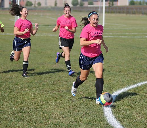 James Neiss/staff photographerNiagara Falls,  NY - Niagara Falls girls soccer captain Chloe Casero moves the ball during practice.