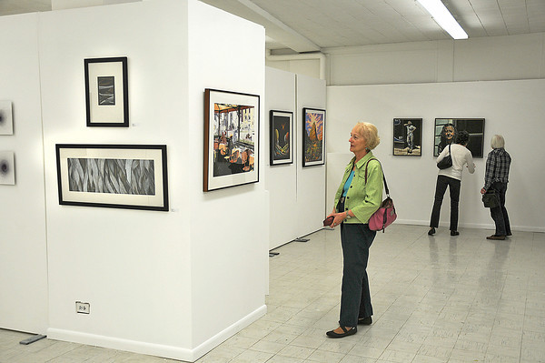James Neiss/staff photographerNiagara Falls, NY - Virginia Patwardhan of Lewiston checks out artwork in the Buffalo Society of Artists 116th Annual Catalog Exhibition that runs through November 3, at the Niagara Arts & Cultural Center.