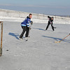 James Neiss/staff photographerSanborn, NY - SHE SHOOTS, SHE SCORES: Kim Abrams of the Tuscarora Indian Reservation scores a goal during a pickup hockey game at the Bond Lake ice rink with Tosh Hamby, 14, of the Town of Lewiston, center and Zak Kijowski, 17 of North Tonawanda.