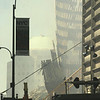 010917 WTC west view--dan cappellazzo photo--Standing steel is what remains of One World Trade Center looking west from the Financial District which opened Monday morning,6 days after the collapse.