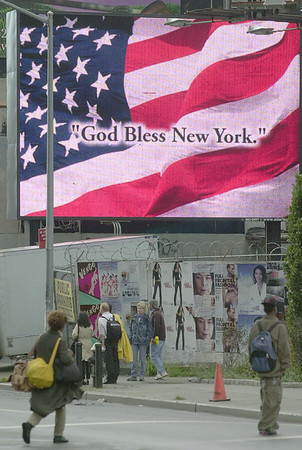 010914 NYC/God Bless--dan cappellazzo photo--On Canal Strete in Greewich Village a sign gives residents of the Big Apple encouragement.
