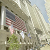 010917 WTC/Wall Street reopens--dan cappellazzo photo--Old Glory hangs on the NYSE, open for trading 6 days after the WTC collapse.