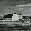 """Egreucoux Barn"" by Ray F. Lindstrom, watercolor on paper, 1957. Photo by Bartlett Hendricks"