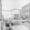 Christmas decorations, strings across Main Street in Brattleboro, VT, Decmber 1972.