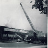 Etobicoke Aerial 1's 1954 LaFrance operates at the fire that swept through the Etobicoke courthouse at Dundas St W. and Prince Edward Dr. on June 6th, 1964. <br /> <br /> Photo by J. Karl Lee<br /> <br /> From the collection of Jon Lasiuk