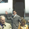 020424 Bledsoe/James Neiss Photo/Story/Cheektowaga - The Buffalo Bills new quarterback Drew Bledsoe arrived with wife Mora (sp?) at Prior Aviation in Cheektowaga. They flew in with Bills owner Ralph Wilson.