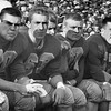 Williams College football game shot of the bench, November, 1955. Photo by William Tague