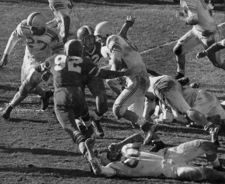 Undated football action. Photo by William Tague