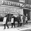 Workers picket in front to the Pittsfield General Electric company store, calling for a boycott, during the 1969 strike. Photo by Joel Librizzi