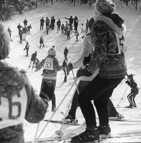 City ski meet, a Pittsfield Winter Carnival event, was blessed this year by ideal weather and snow conditions. A large crowd of youngsters took part in the races held at Pittsfield State Forest, February, 10, 1968. Photo by William Tague