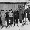 The first ski club of Pittsfield, it is said, was this group posing in 1910 at Berkshire Park, a recreation spot the trolley company maintained in Cheshire. Anton Olsen is third from left, Alex Nicholson, fifth. Charles Olsen is third from right and Andrew Olsen last on right. Published December 18, 1962.