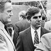 Former Massachusetts Governor Edward King and Governor Mike Dukakis at dedication of GE Plastics Technology Center, July, 23, 1984. Photo by Joel Librizzi.
