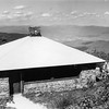 Hikers walk near the shelter at the summit of Mount Greylock, September, 1980. Photo by Susan Plageman