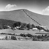 View of Mount Greylock, September 1957. A trail is marked over the photo. Photo by William Tague.