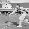 Norman Rockwell plays tennis at the Stockbridge Golf Club, Circa 1954. Photo by William Tague.