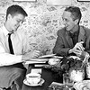 Norman Rockwell and his son Thomas Rockwell at breakfast, February, 1960. Photo by William Tague.