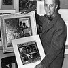 Norman Rockwell poses with paintings, March 6, 1961. Photo by Eugene Mitchell