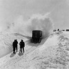 Snow clearing equipment hits badly drifted snow, undated.