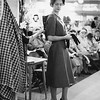 A model prepares at a fashion show at England Brothers Department Store in Pittsfield, October, 1958. Photo by William Tague.