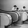 Children use the escalator  at England Brothers in Pittsfield, October, 1957. Photo by William Tague