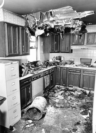 Love Canal2-homes-A burned out kitchen in the condemn area of Love Canal. photo taken July 2, 1987.