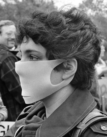 Love Canal6- protest-Ellie Dorritic, of Buffalo Woman United for Action, wears a protective foam mask during a Mothers Day March, May 13 1979 at Love Canal.