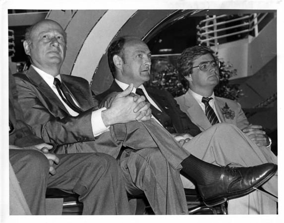 Buildings - Niagara Falls<br /> Rainbow Center<br /> Mayor Ed Kock - N.Y., Mayor James Griffin - Buffalo, and Robert Carpenter - Developer.<br /> Photo - By Andrew J. Susty - 7/2/1982.
