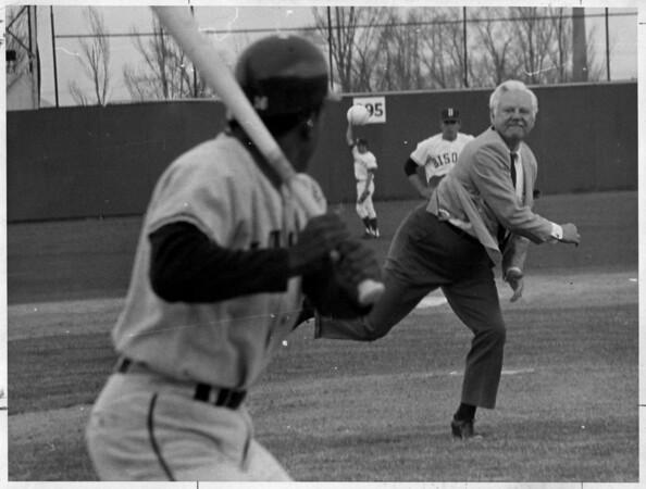 Sports - Baseball<br /> Mayor E. Dent Lackey first pitch 1969.<br /> Photo - By Niagara Gazette 4/26/1969.