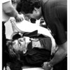 Niagara River - Rescue<br /> Injured in Gorge fall Susan M. Salciccioli being put into the ambulance.<br /> Photo - By Ron Schifferle - 10/8/1985.
