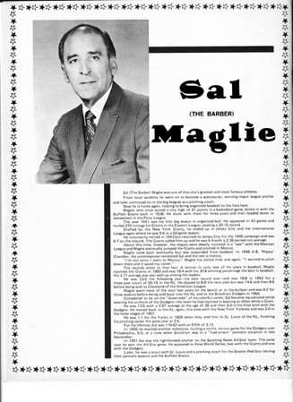 Sports - Baseball<br /> Sal Maglie (The Barber)<br /> Niagara Falls Baseball Souvenir and Score Book.<br /> 1970.
