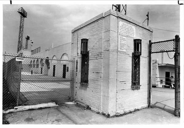 Parks - Sal Maglie Stadium<br /> Battered ticket booth at enterance to Sal Maglie Stadium on Hyde Park.<br /> Photo - By Niagara Gazette - 5/2/1980.