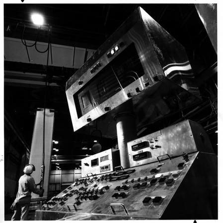 Computers<br /> Aluminum Company of America computer controls electromagnetic process.<br /> Photo - By Niagara Gazette - 11/27/1983.