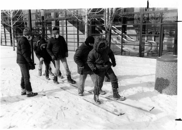 Niagara Winter Experience<br /> Niagara Winter Experience teaches teamwork and competition. Part of the Klondike Derby - Boys moved with boards in unison. Troop 843 - Riverside Presbyterian. Church.<br /> Photo - By John Kudla - 2/2/1980.