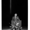 "Harrison Radiator - Thomas Stokes<br /> Thomas Stokes, general manager at Harrison Radiator Division of General Motors fondly ""remembers"" those employees/co-workers killed in plane crash. A memeorial Service at NCCC fine arts was held.<br /> Photo - By Lisa Massey - 8/30/1982."