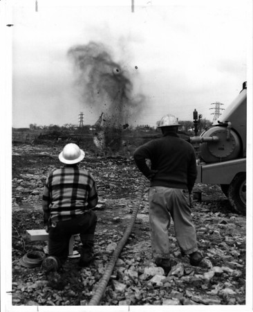Power Authority Constrction SPA - First blast at R.M.N.P.P. Truck Tires & Blasting Mats Minimize Flying Rock Feb, 18/1958
