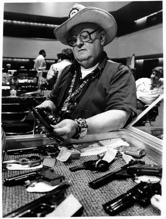 Convention Center - Bookings<br /> Gun Show<br /> Harold J. Kuehlewind of Lancaster, N.Y.<br /> Photo - By Dan Shubsda - 8/1/1981.
