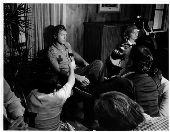 Niagara River - Raft Ride<br /> A press conference concerning the raft ride at the Niagara River.<br /> Photo - By Dan Shubsda - 8/29/1975.