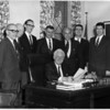 Mayor Lackey Signing of contract for architects drawing of new auditorium on Sept. 14, 1968. Donald J. O'Hara, city manager, R. Wolcutt Hooker, President Gateway to America Corp,... Etc... see second scan....
