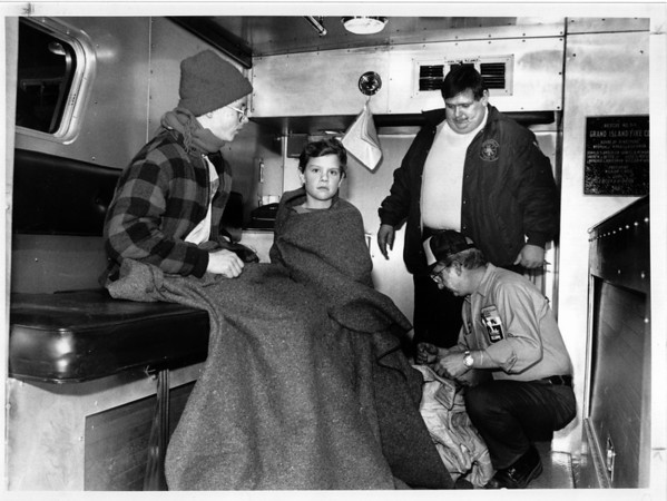 Niagara River - Rescues<br /> 2 Grand Island boys rescued from Niagara River.<br /> Charles Quinn age 14 and Jason Schmidt age 9.<br /> Photo - By Ron Schifferle - 2/14/1991.