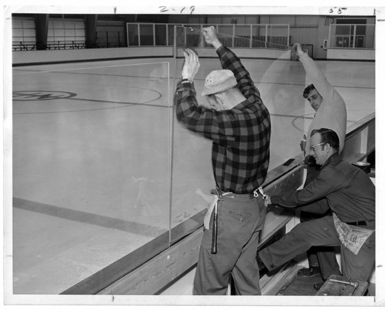 Parks - Hyde Park Ice Pavilion.<br /> Assembly of Ice rink.<br /> From left to right John L. Campbell, Malcolm Campbell, and John Luzzio.<br /> Photo - By Niagara Gazette - 3/21/1970.
